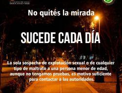 Imagen nocturna de parque, con texto que nos recuerda que la trata de personas sucede a nuestro alrededor.