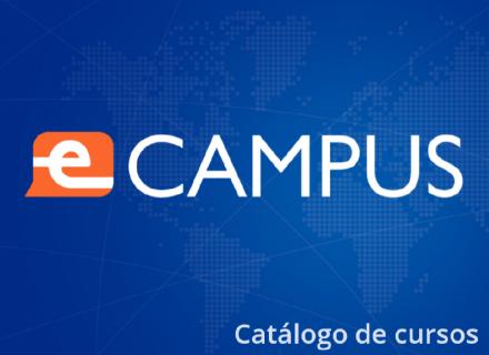 Logo de E-Campus sobre Fondo Azul