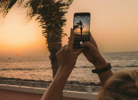 Persona sostiene teléfono para tomar fotografía de palmera y atardecer