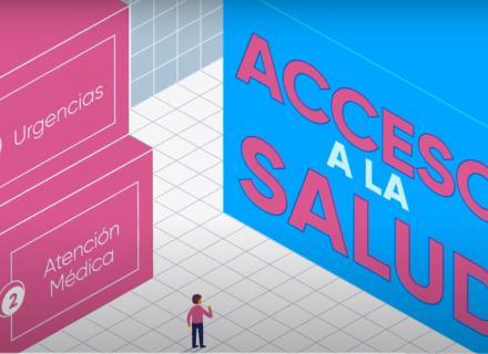 """ilustración abstracta con personaje frente a dos grandes cubos. Uno de ellos indica """"Acceso a la salud"""""""