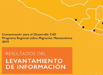 """Portada del informe con mapa de la región en línea simple y un recuadro que dice """"Resultados del levantamiento de información"""""""
