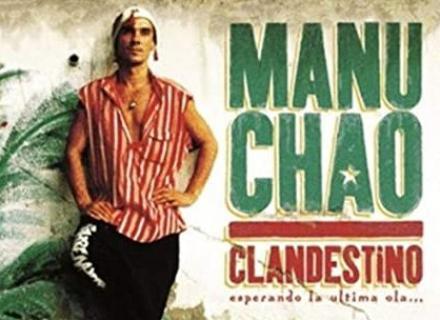 Imagen del sencillo de Manu Chao. Fotografía del artista al lado del título de la canción