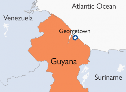 Mapa de Guyana que enfatiza la capital, Georgetown