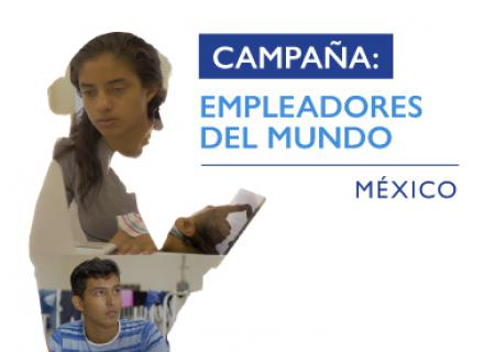 Silueta de persona que contiene fotografías de personas trabajadoras. Texto: Campaña: empleadores del mundo. México