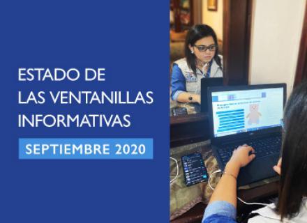 Fotografía de persona brindando soporte remoto desde una computadora. Texto: Estado de las ventanillas informativas, septiembre 2020