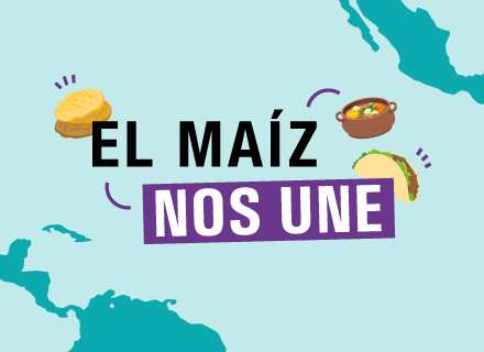 El maíz nos une. Ilustración de taco y arepa sobre mapas de Mesoamérica