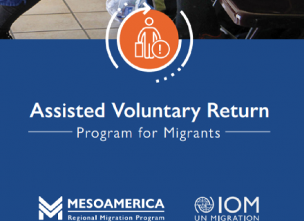 Title: Assisted Voluntary Return, and icon of person with suitcase