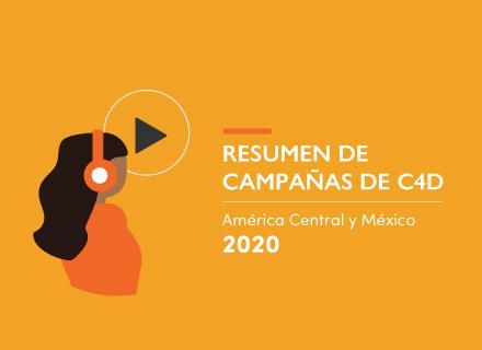 Ilustración de joven con audífonos. título: Resumen de campañas de C4D: América Central y México. 2020