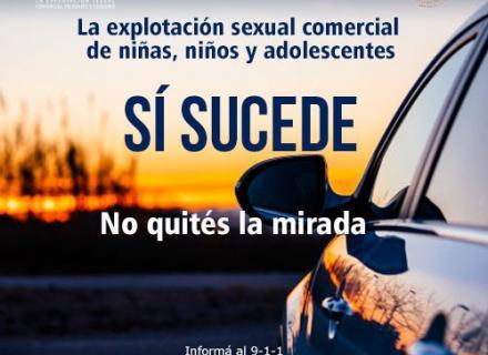 Imagen del costado de un vehículo sobre un paisaje de atardecer, con texto que nos recuerda que la trata de personas sucede a nuestro alrededor.