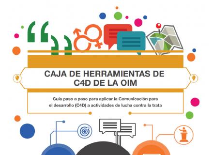 """Portada del folleto con el título """"Caja de herramientas de C4D de la OIM"""""""